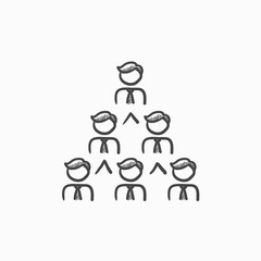 Business pyramid  sketch icon.
