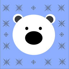 Bear flat icon cartoon portrait drawing of polar bear icon face with big black nose surrounded by snowflakes isolated on blue background vector eps 8