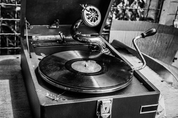 Old vintage gramophone in black and white