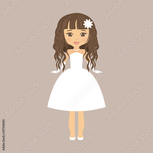 quotcartoon girl with curly hair in a short dressquot stock