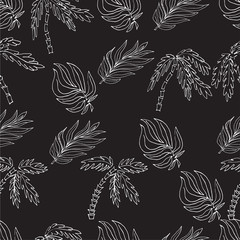 Vector seamless pattern. Hand drawn leaf of palm and palm trees.