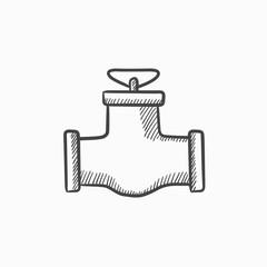 Gas pipe valve sketch icon.
