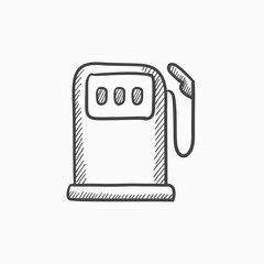 Gas station sketch icon.