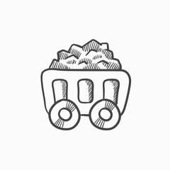 Mining coal cart sketch icon.