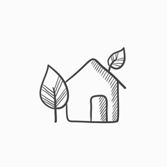 Eco-friendly house sketch icon.