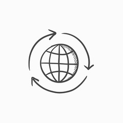Globe with arrows sketch icon.
