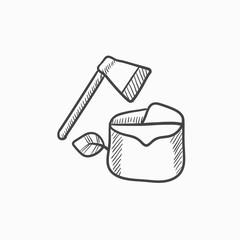 Deforestation sketch icon.