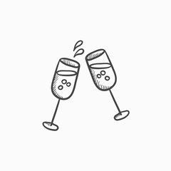 Two glasses of champaign sketch icon.