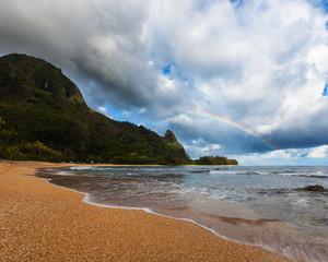 Rainbow, Makana Mountains, Bali Hai, Kauai Island, Hawaii, United States of America