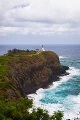 Lighthouse on cliff edge, Kauai Island, Hawaii, United States of America