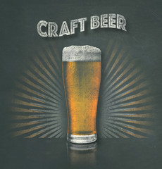 Illustration of craft brew beer golden pint of small batch artisan delicious ale