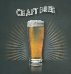 Hand drawn vector art chalk blackboard craft brewery beer sign