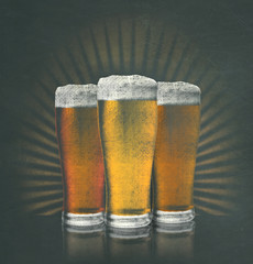 Art drawing sketch chalk blackboard signage colorful beer pint glasses with frothy head