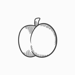 Plum with leaf sketch icon.
