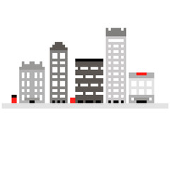 Pixel set 8 bit cartoon illustration of grey colorful line art different city buildings with windows isolated on white background  vector eps 10