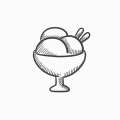 Cup of an ice cream sketch icon.