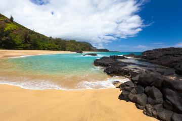 Lava rocks in sea, Kauai, Hawaii, United States of America, panoramic