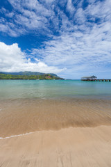 Jetty at daytime, Hanalei Bay, Kauai, Hawaii, United States of America, distant