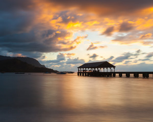 Jetty at sunset, Waimea Pier, Hanalei Bay, Kauai, Hawaii, United States of America