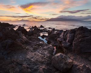 Lava rocks, Kahoolawe Island, Kauai, Hawaii, United States of America, panoramic