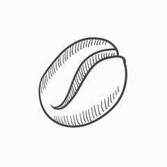 Coffee bean sketch icon.