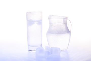 Jug and glass with ice water