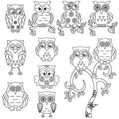 Set of various ornamental owl black outlines