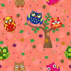 Amusing owls seamless pattern over terracotta