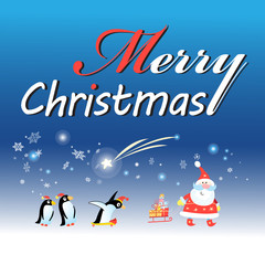 Christmas card with Santa Claus and a penguin