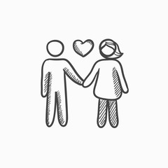 Couple in love sketch icon.