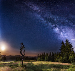 Milky way and night sky in mountains