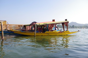 Shikara in Srinagar in Kashmir, India