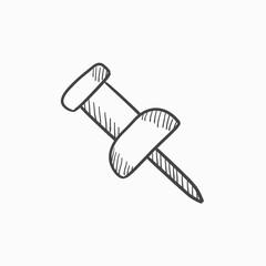 Pushpin sketch icon.
