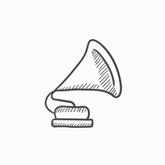 Gramophone sketch icon.