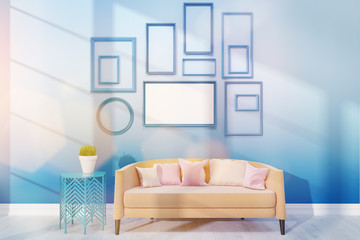Cosy living room with medium poster