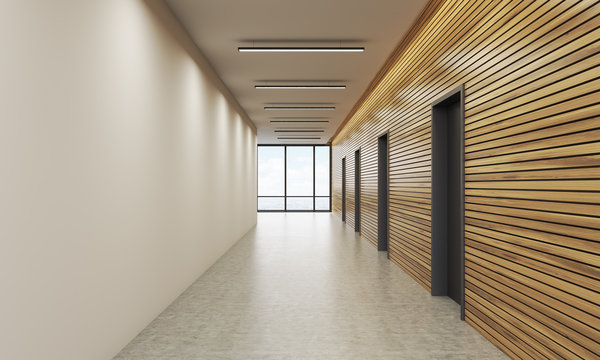 Office lobby with white and wooden wall