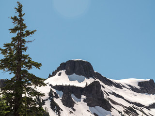 Artist Point at Mt Baker with Blue Sky Space for Text