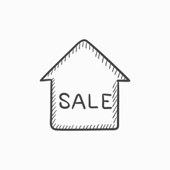 House for sale sketch icon.
