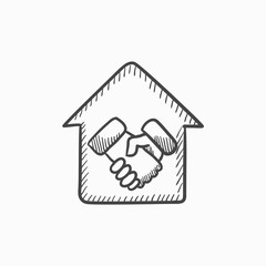 Handshake and house sketch icon.
