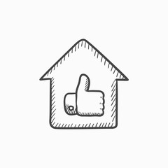 Thumb up in house sketch icon.