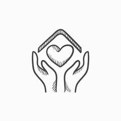 Hands holding roof of house and heart sketch icon.