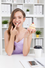Girl eating cream