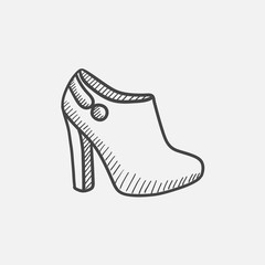 High-heeled ankle boot sketch icon.