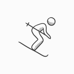 Downhill skiing sketch icon.