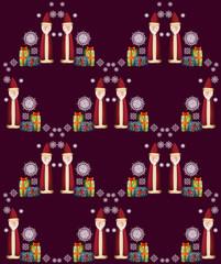 Weihnachtsmann, Geschenke und Schneeflocke als Muster