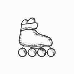 Roller skate sketch icon.
