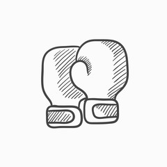 Boxing gloves sketch icon.