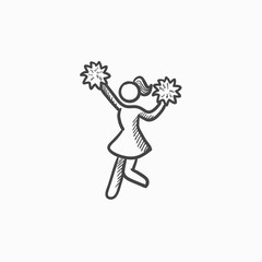 Cheerleader sketch icon.