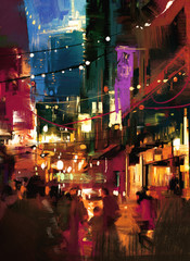 colorful painting of shopping street at night
