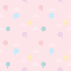 Vector flat hot air balloon flying int the sky decoration with cloud into seamless pattern.Pastel sweet color in pink sky background.Wallpaper or wrapping paper gift.